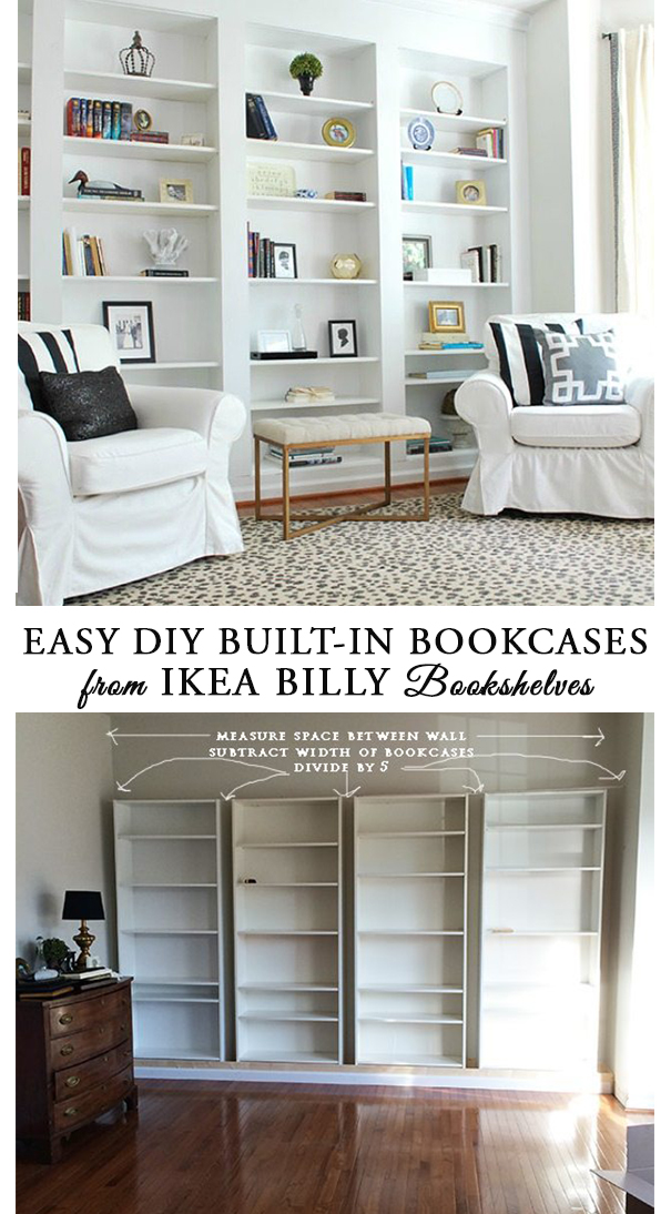 How To Diy The Look Of Built In Library Bookcases From Ikea Billy