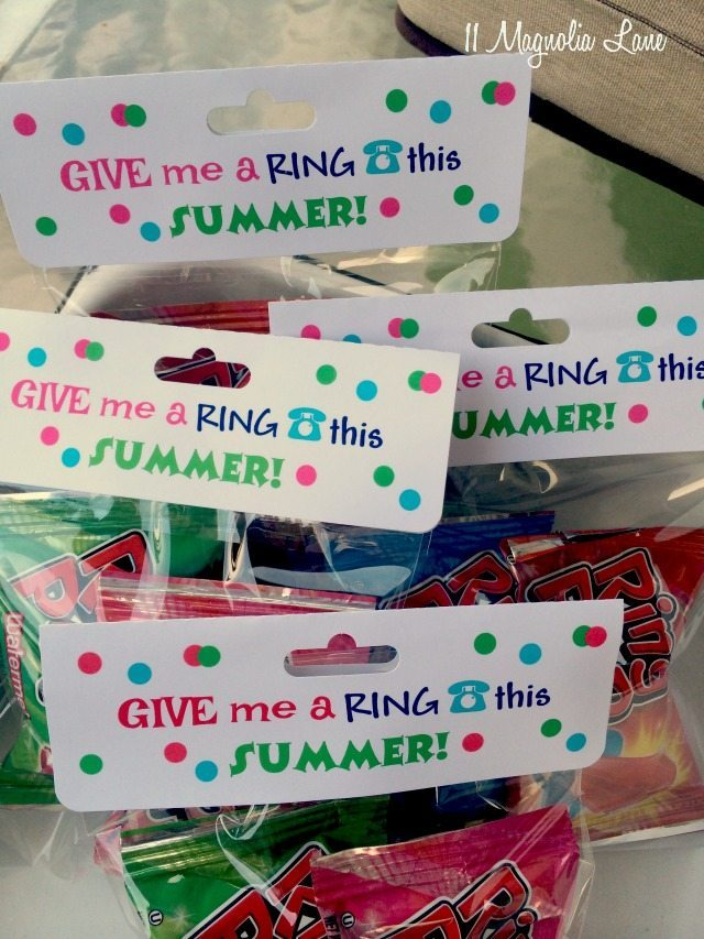 Ring pops end of school goody/treat bag | 11 Magnolia Lane