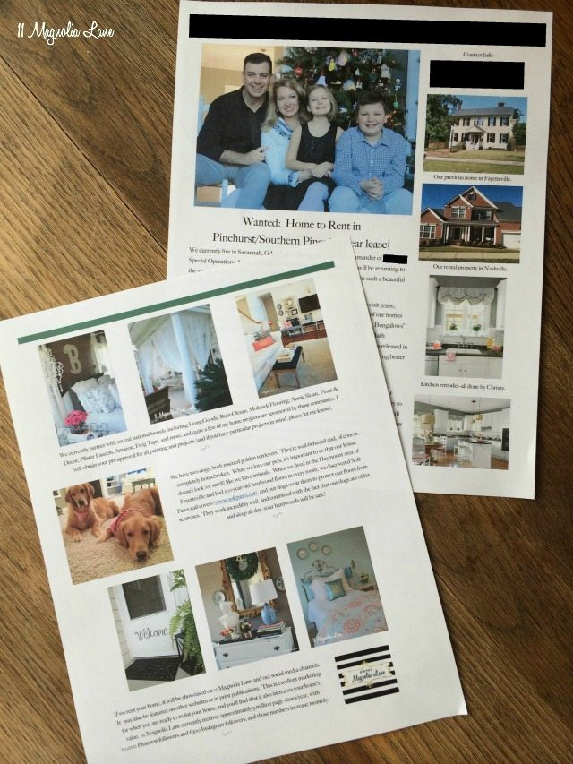 Market your family by creating a brochure for potential landlords | 11 Magnolia Lane