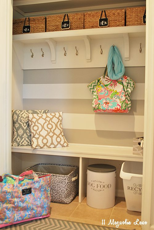 Closet turned mudroom | 11 Magnolia Lane