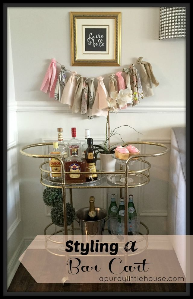 Styling a vintage bar cart by A Purdy Little House