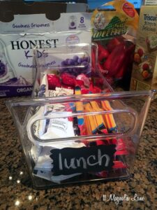 Lunchbox items organized in refrigerator | 11 Magnolia Lane