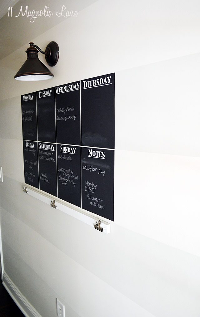 Striped wall with chalkboard calendar