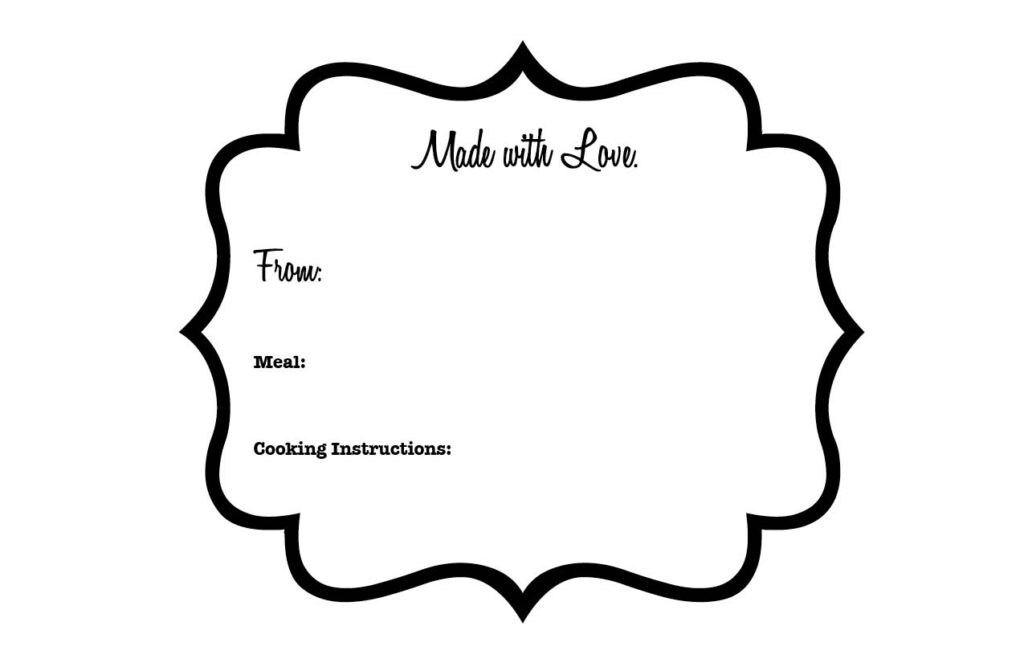 Making Meals for Friends in Need {Free Printable Labels}