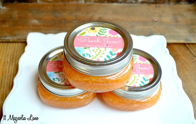 Peach freezer jam recipe and printable labels | 11 Magnolia Lane