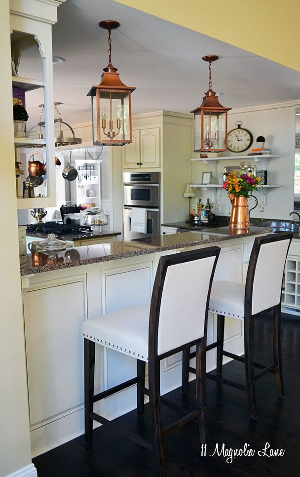 French Country Kitchen With Off White Cabinets And Copper Accents | 11  Magnolia Lane