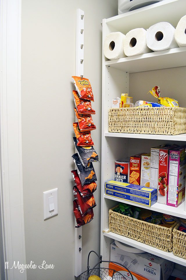 DIY chip rack maximizes vertical wall space in a pantry | 11 Magnolia Lane