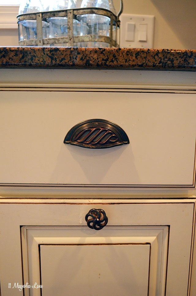 Oiled copper bin pulls and kitchen hardware knobs | 11 Magnolia Lane
