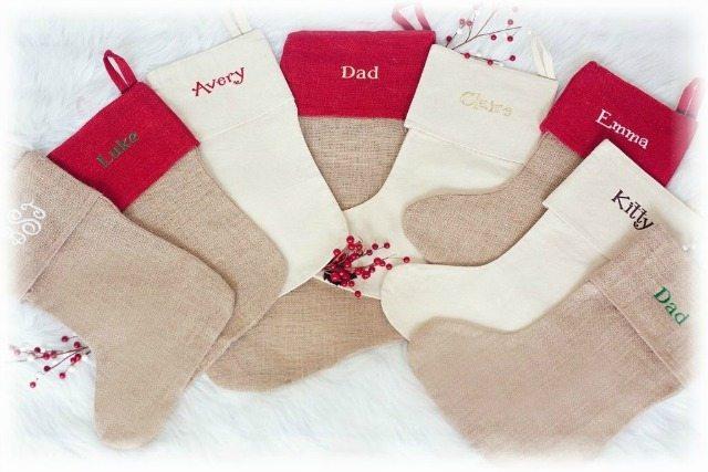 Burlap, natural monogrammed stockings