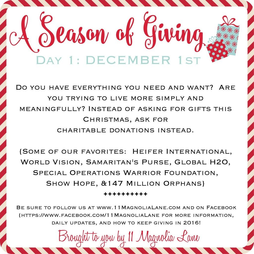 A Season of Giving Day 1 | 11 Magnolia Lane