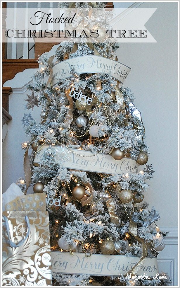 "Decorating a flocked Christmas tree, tips and tricks and a great resource for a pretty snow covered ""flocked"" tree."