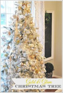 A flocked tree looks beautiful with gold, silver and white ornaments and gold beads, add some interest to your holiday decor with non-traditional colors.