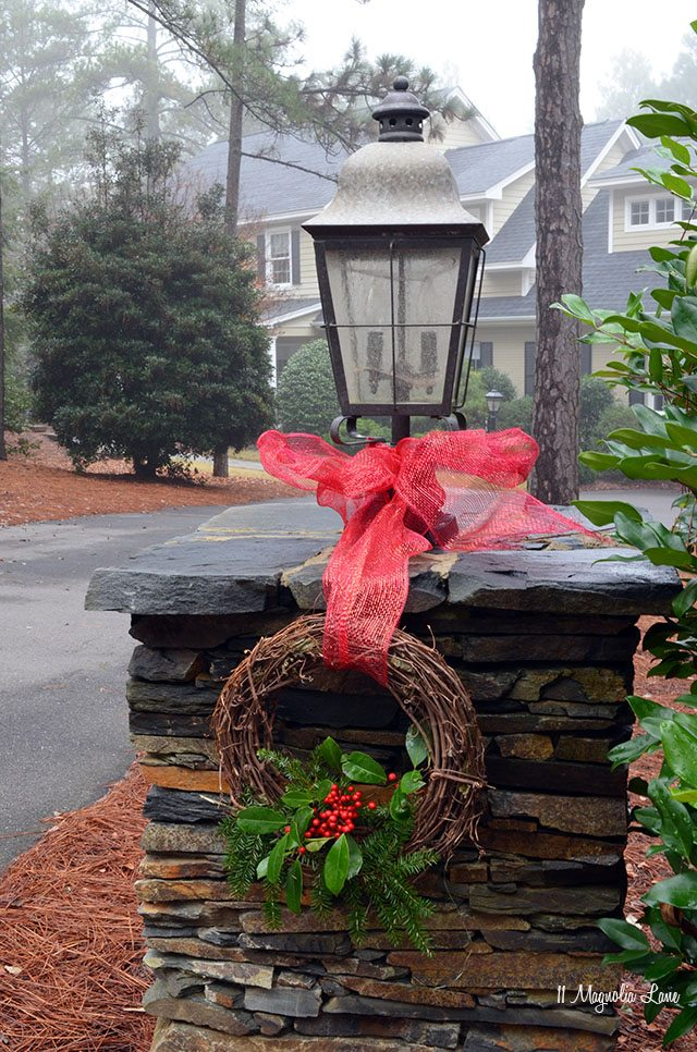Stone lantern decorated for Christmas | 11 Magnolia Lane