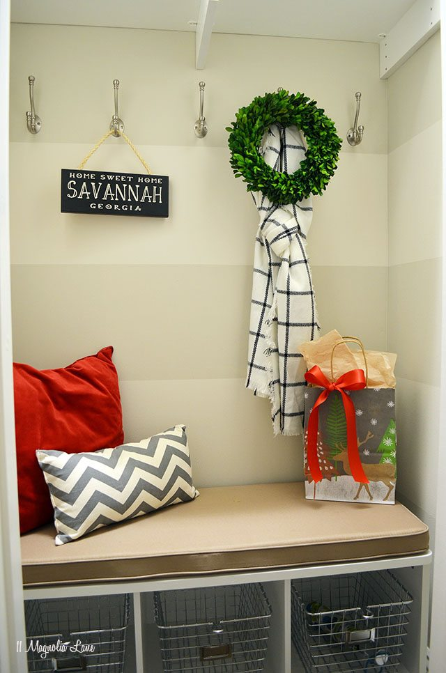 Closet-turned-mudroom decorated for Christmas | 11 Magnolia Lane