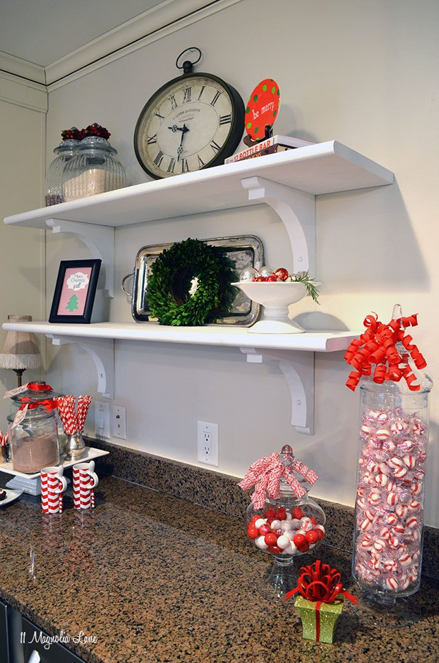 Christmas decorations on open shelving | 11 Magnolia Lane