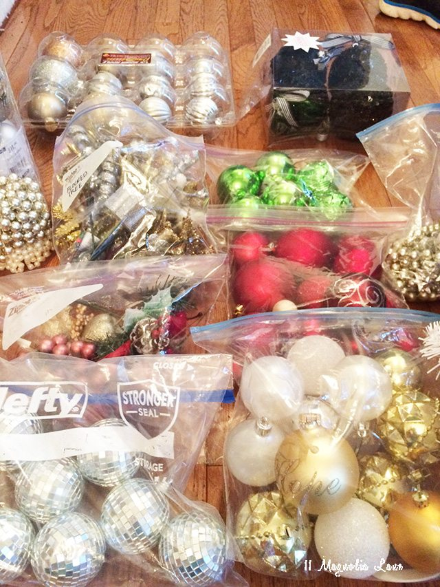 organized christmas tree decor ziploc bags