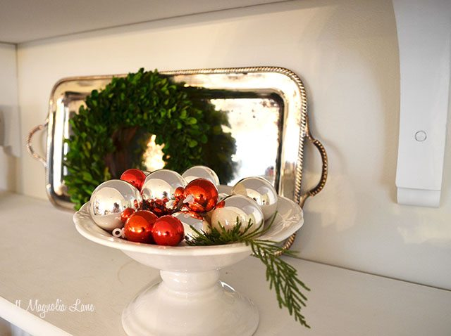 Silver tray and boxwood wreath as Christmas decor | 11 Magnolia Lane