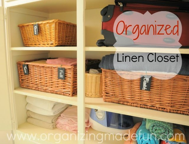 Organized Linen Closet from Organizing Made Fun