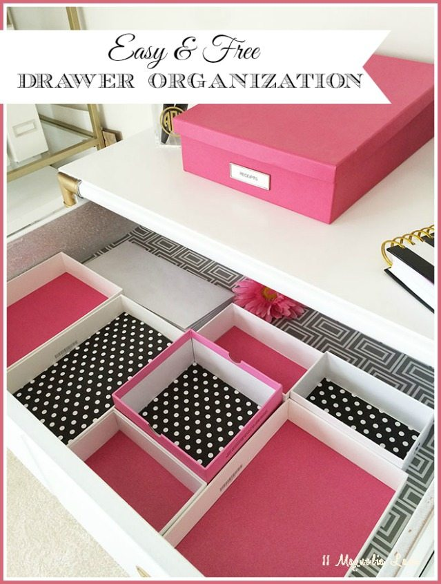 Organize desk drawers by reusing boxes (these are phone and iPad) and lining with scrapbook paper--free organization!
