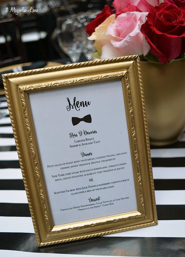 Gold framed menu card