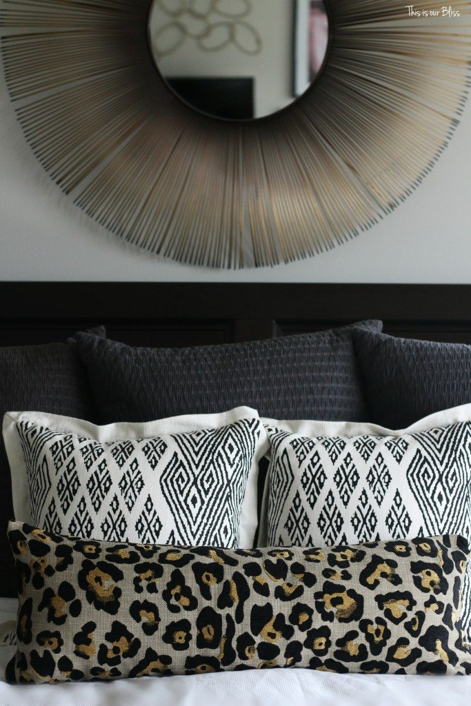 new year, new room refresh challenge - Master bedroom refresh - gold decor - pattern play - This is our Bliss - www.thisisourbliss.com