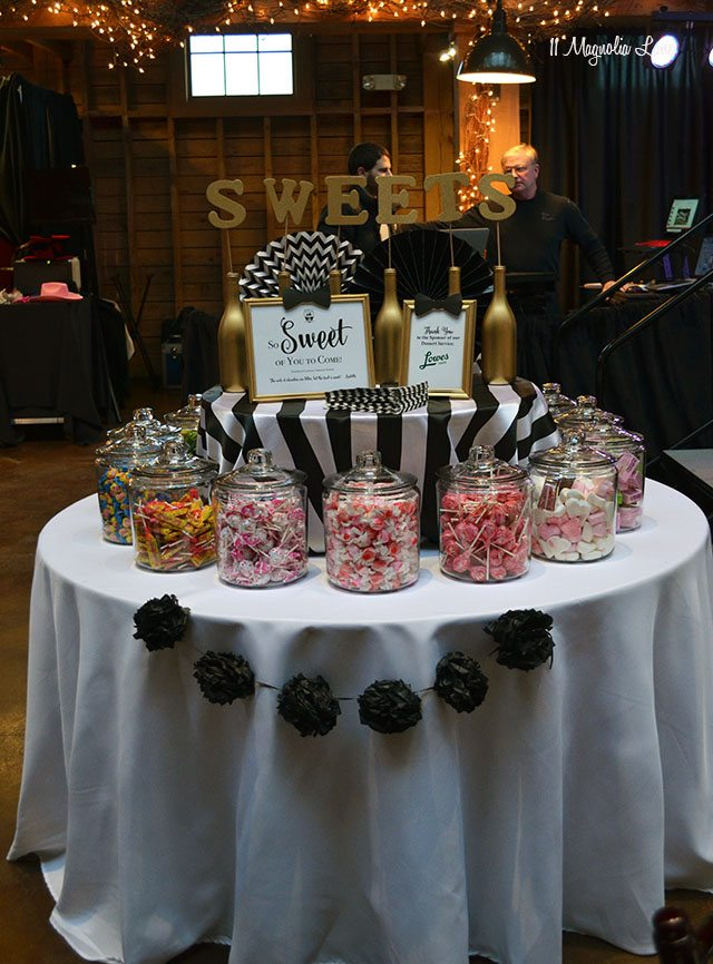 Candy bar; Formal event decor: black and white stripes with gold