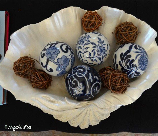 blue and white ceramic balls