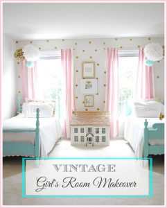 A vintage Girls room with painted twin beds, a pink and gold color scheme and easy DIY artwork.