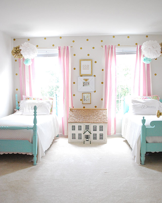 Tips and tricks for chalk paint and furniture makeovers for Girls bedroom paint ideas polka dots