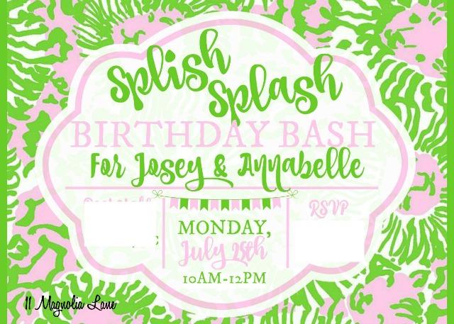 Sunnyside digital invitation for Lilly Pulitzer themed teen girl's birthday party | 11 Magnolia Lane