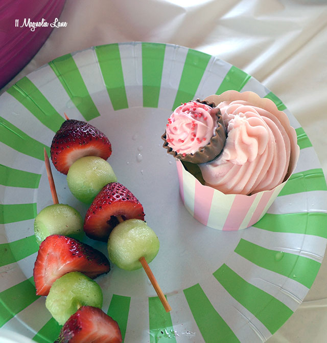 Pink and green fruit skewers at Lilly Pulitzer themed teen girl's birthday party | 11 Magnolia Lane