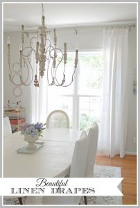 Beautiful new linen drapes in the Dining Room, and affordable source for custom linen draperies