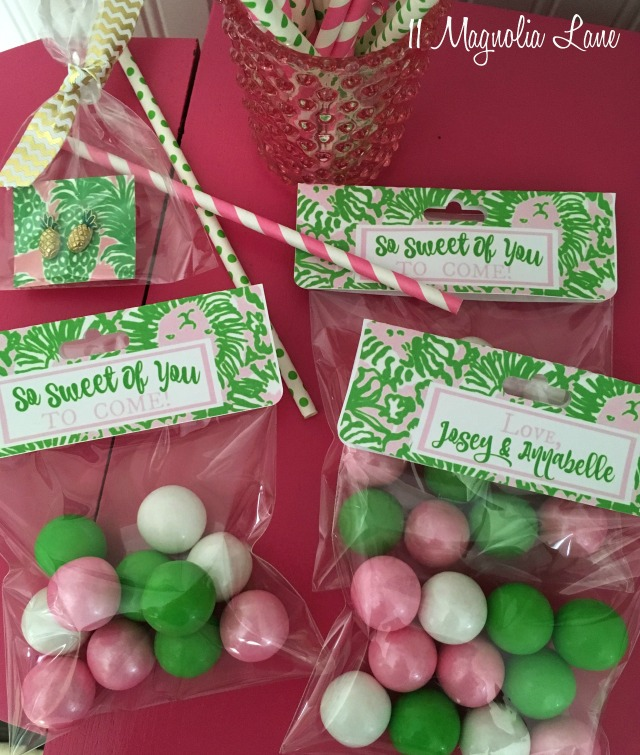 Lilly Pulitzer (Sunnyside) inspired treat bags with pink and green gumballs for teen girl's birthday party | 11 Magnolia Lane