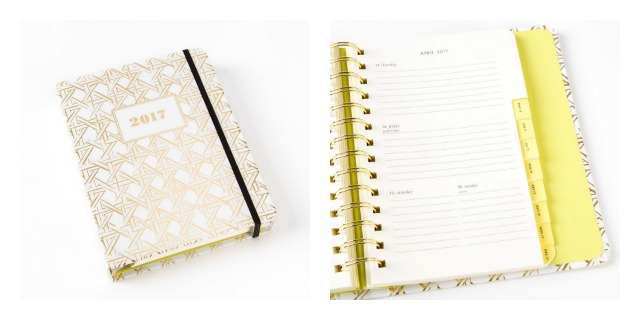 Kate Spade 2017 agenda planner in gold cane caning
