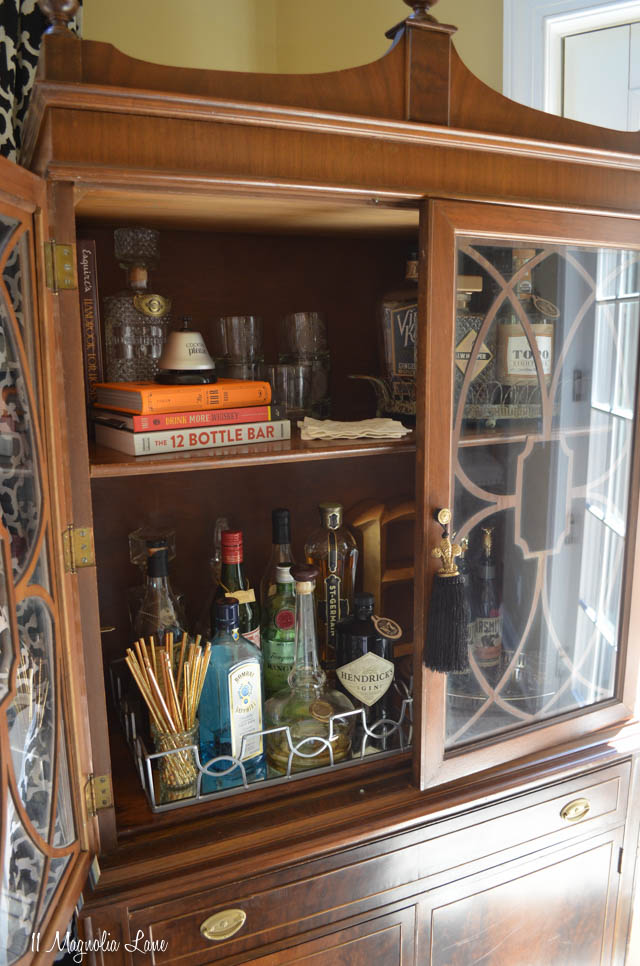 Bar from vintage china cabinet | 11 Magnolia Lane
