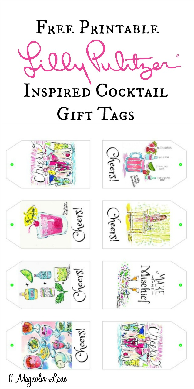 Lilly Pulitzer inspired cocktail party free printable gift tags | 11 Magnolia Lane