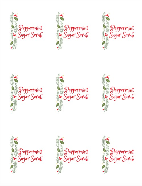 Peppermint Sugar Scrub printable labels