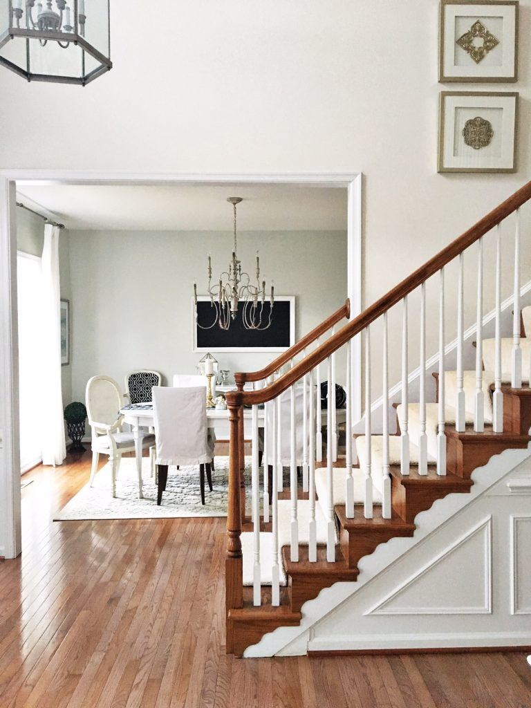 Stairway and dining room decor