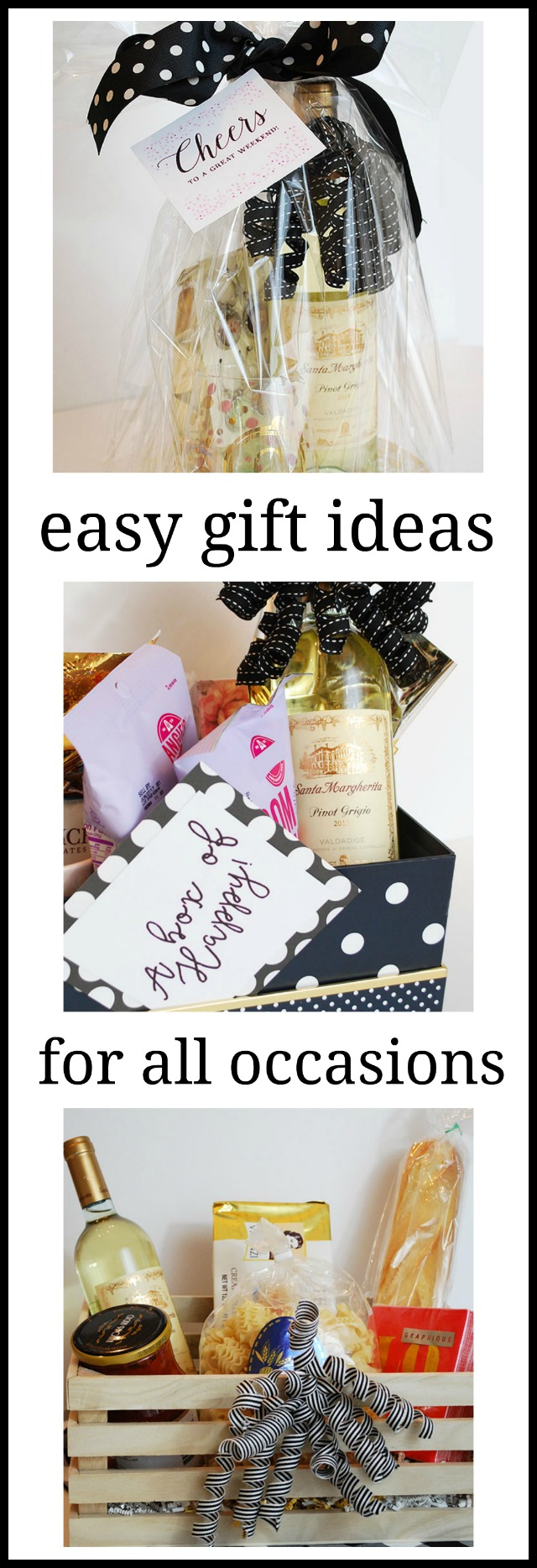 Easy Gift Ideas for all occasions, Dinner in a Basket, a Box of Happy and a weekend hostess gift all with the perfect wine. #ad
