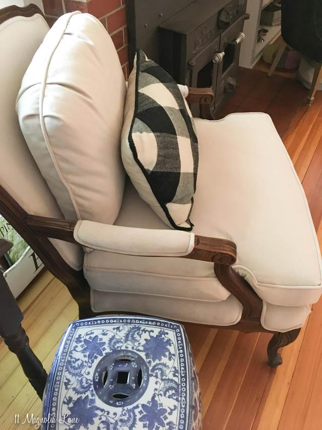Velvet Covered Bergere Chair