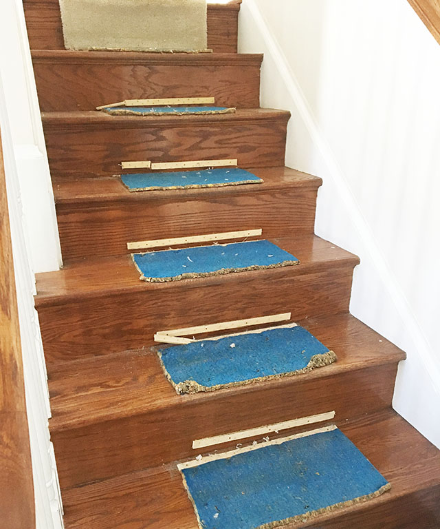 We found most of the damage to the stairs came from us digging too deep to get embedded staples out rather then from pulling off the strips or the carpet.
