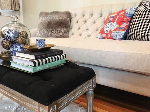 Tufted nailhead sofa