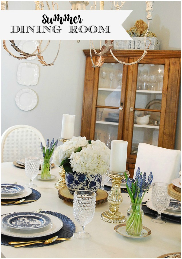 Summer Dining Room In Blue White
