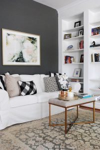 Minted art print in Library with walls, Kendall Charcoal