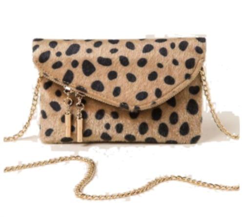 foldover leopard clutch purse