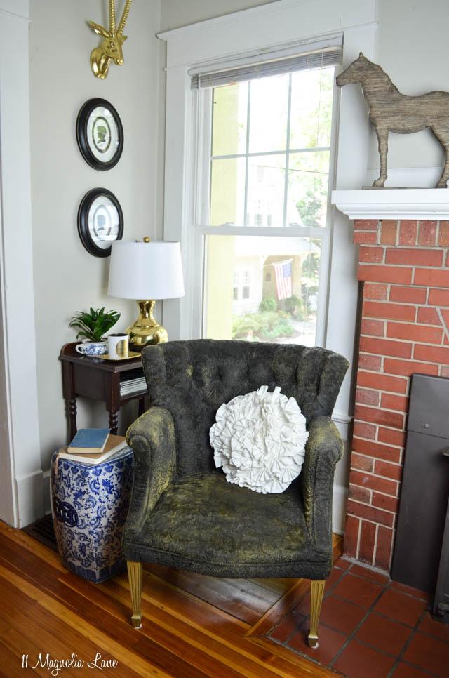 black velvet chair painted