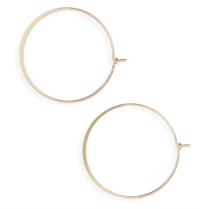 dainty gold wire hoop earrings