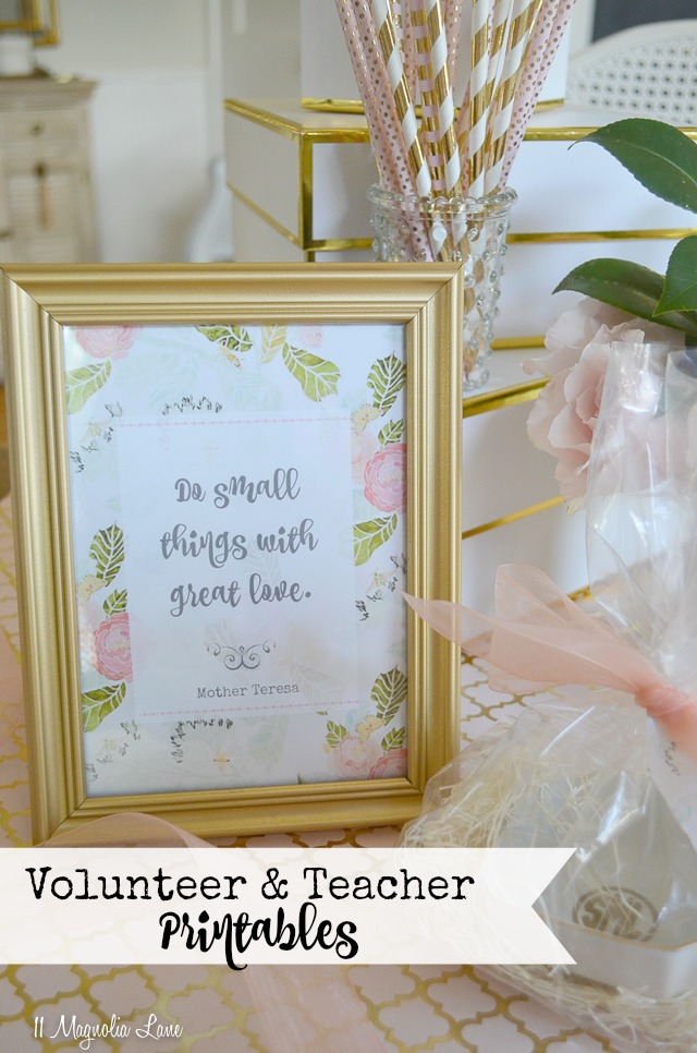 Pink floral volunteer and teacher appreciation printables | 11 Magnolia Lane