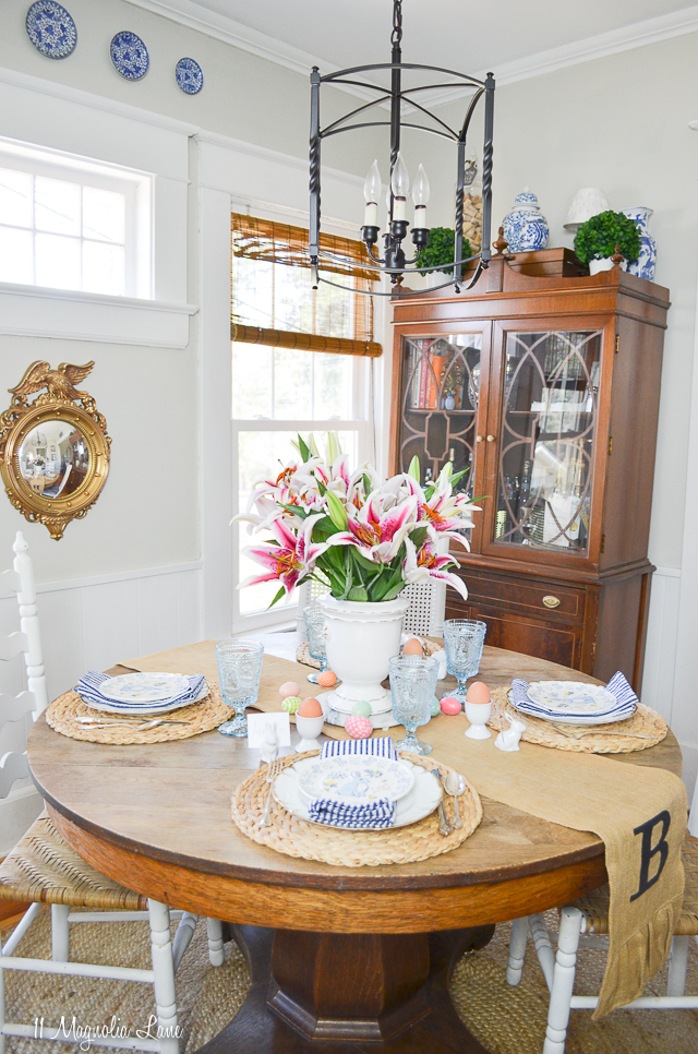 Casual Easter tablescape with blue and white touches | 11 Magnolia Lane