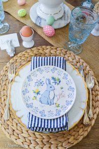 Casual Easter tablescape with blue and white touches   11 Magnolia Lane